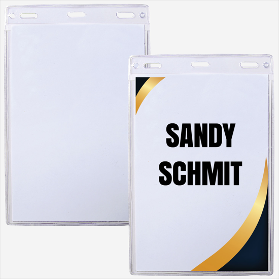 Clear Plastic Name Badge Holders (top-load) for Meetings
