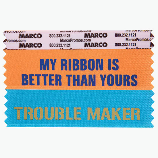 Badge Ribbons, 10¢ Pre-Printed + Custom Ribbon Titles - MARCO
